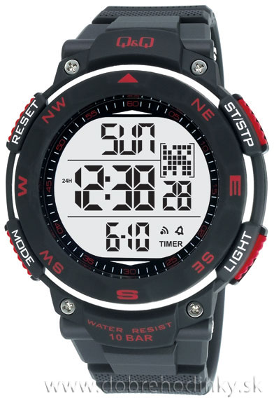 Q&Q M124J001Y 404755 športové hodinky 10 ATM priemer 51 mm