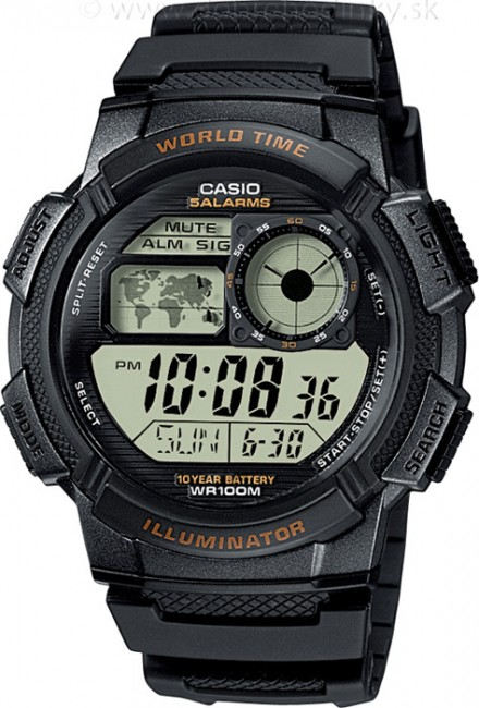 CASIO AE 1000W-1A Svetové časy na potápanie