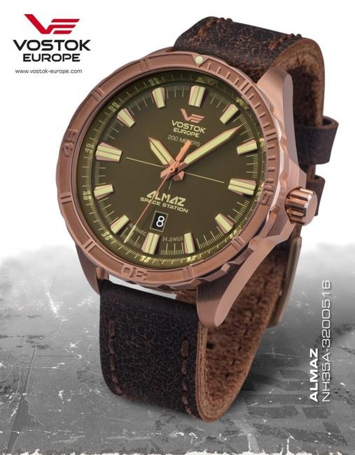 pánske hodinky Vostok Europe NH35A/320O516 ALMAZ bronze automatoc