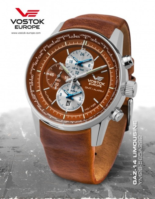 Vostok Europe YM26/565A292 GAZ-14 world timer/alarm