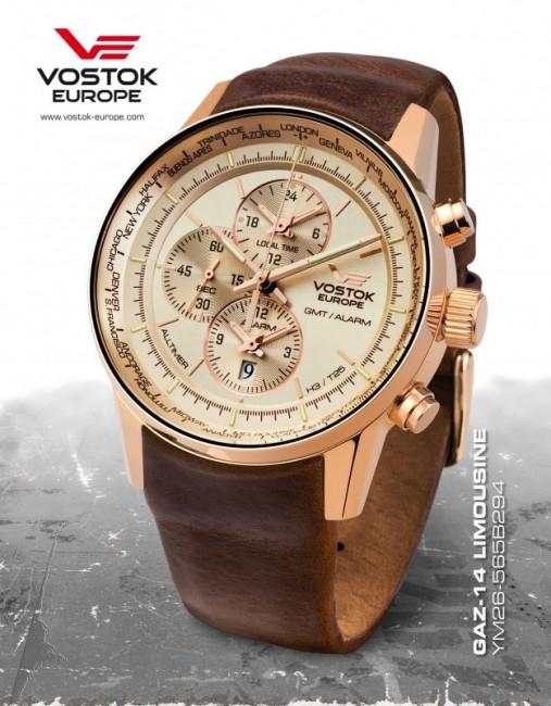 65616e588f6 NOVINKY Pánske hodinky. Vostok Europe YM26 565B294 GAZ-14 world timer alarm  zväčšiť obrázok